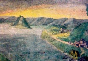 Antico affresco raffigurante il lago ed il borgo di Vico