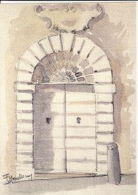 Portale di palazzo Pettelli, acquerello